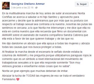 Georgina Orellano relato Facebook