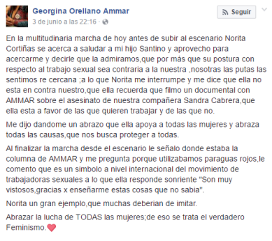 Georgina Orellano relato Facebook