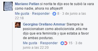 Comentario en muro de Facebook