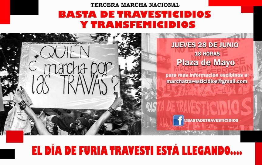 Tercera marcha nacional Basta de Travesticidios y Transfemicidios